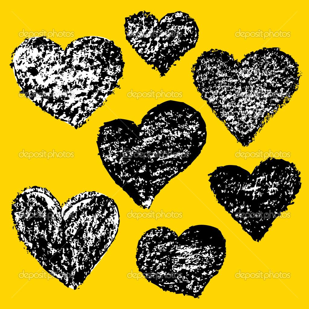 Sada Vektor Kreslene Srdce Pro Valentyna Karty Navrh Stock Vektor