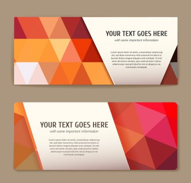 Set of colorful banners with triangle pattern.