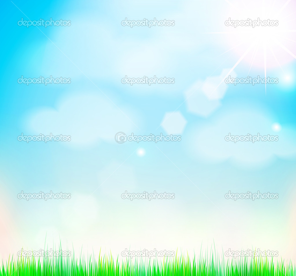Natural sky background with sun and grass. — Stock Vector ...