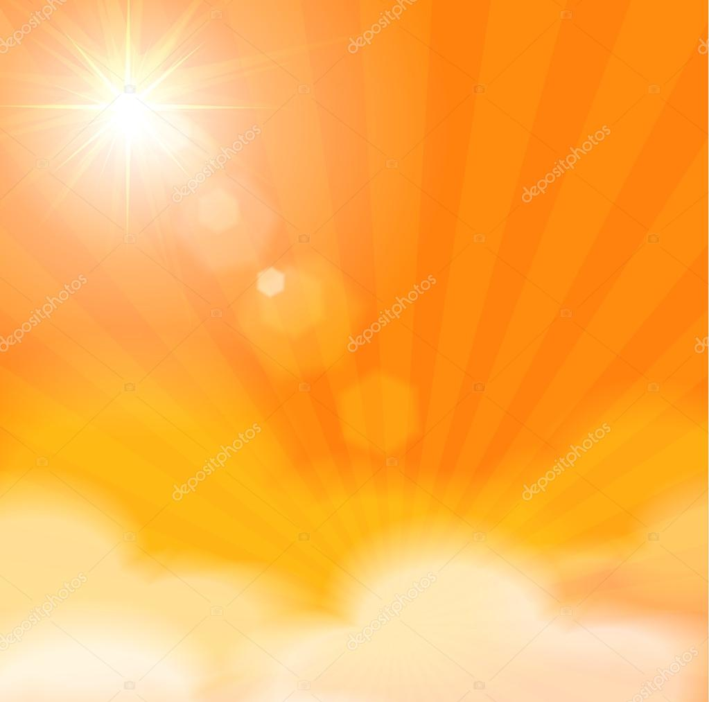 Sunny background with sun burst