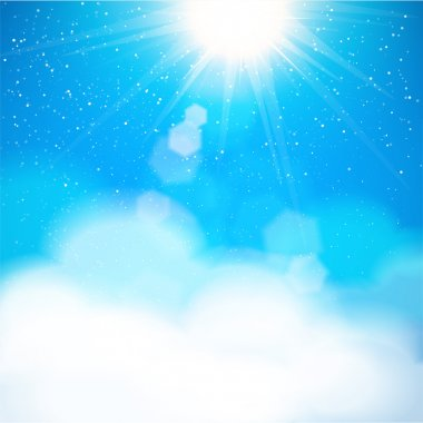 Natural sky background with sun shining