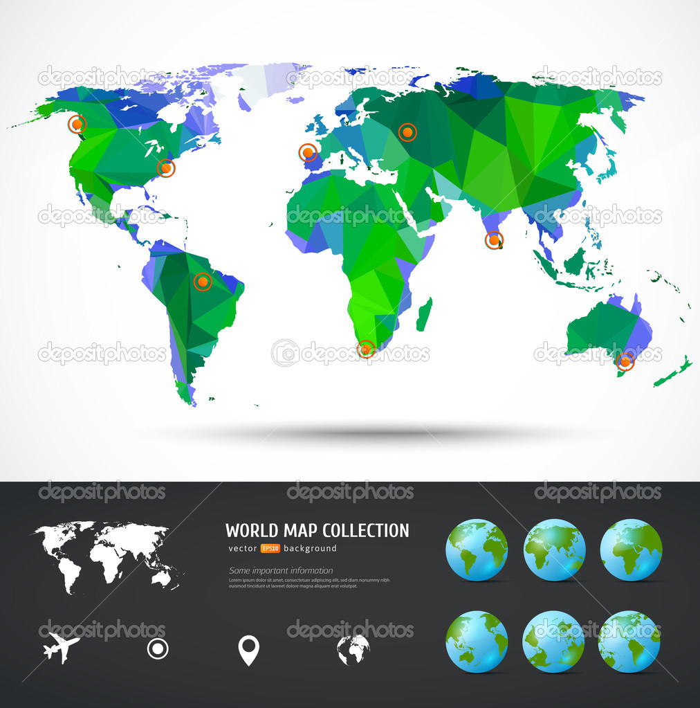 Vector world map stock vector codesyn 49065059 vector world map triangle set map for your traveling bochure vector by codesyn gumiabroncs Image collections