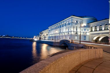 The raised bridge at white nights in the city of St.-Petersburg