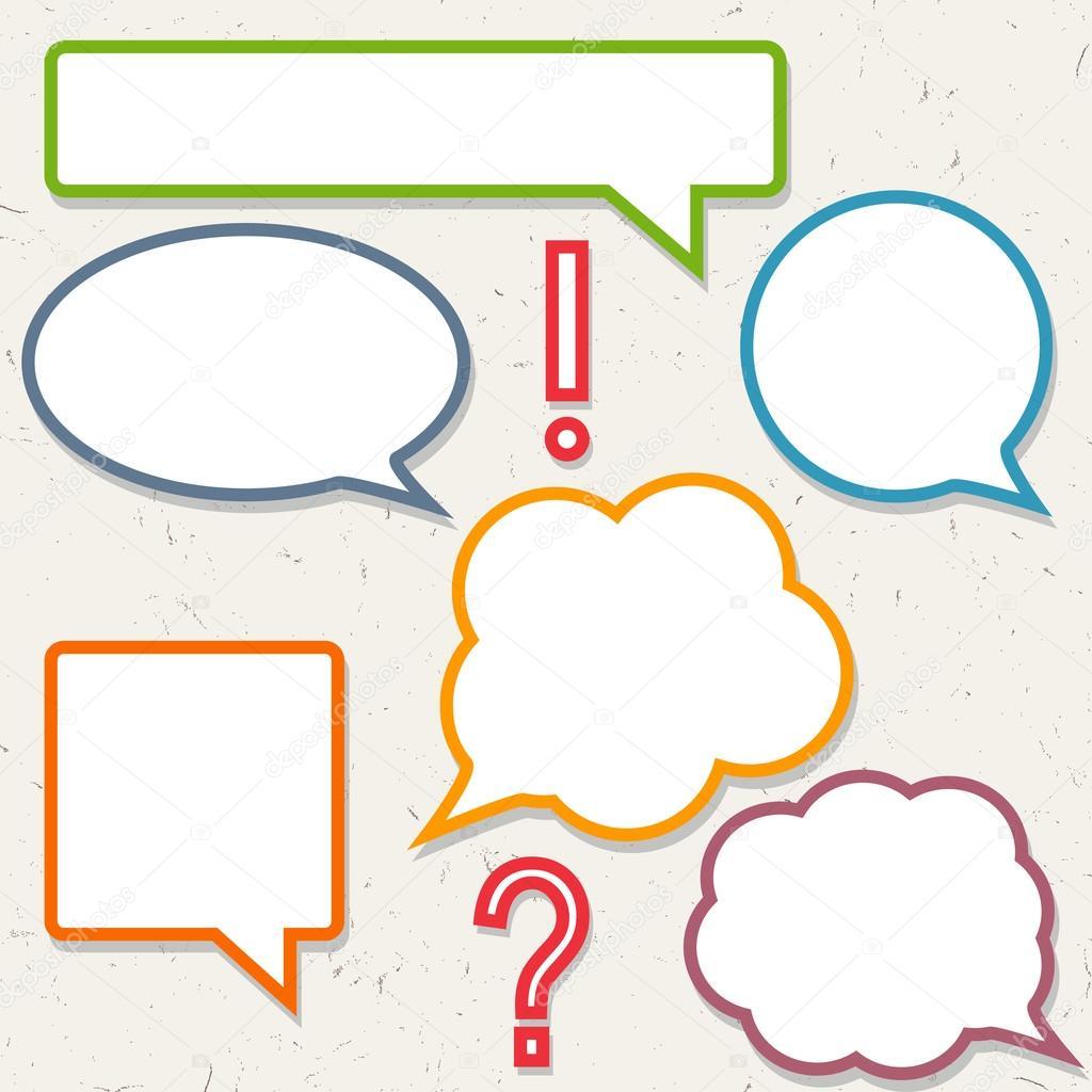 conjunto de burbujas coloridas discurso, marcos para tu diseño ...