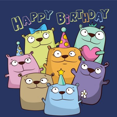 Birthday card with funny cartoon bears