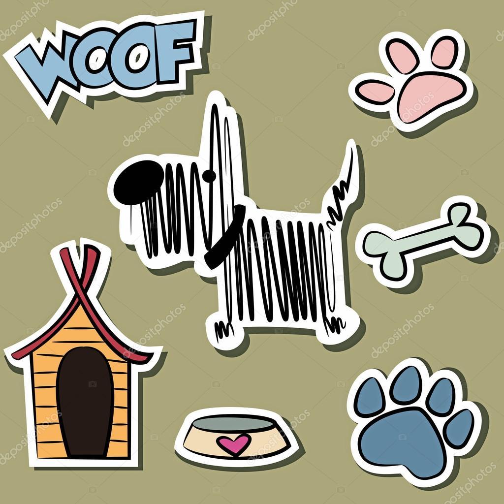 Lustige Hund Und Zubehor Aufkleber Satz Stockvektor C Yuliagursoy