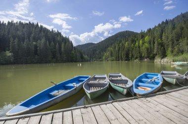 Boat docks on lake