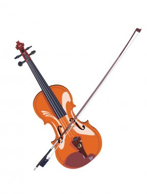 Realistic violin with bow picture