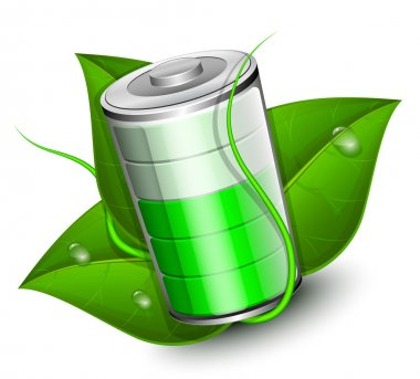 Battery with green leaf - eco energy concept. Vector illustratio