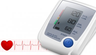 Blood Pressure Monitor with space for text and heartbeat. Vector