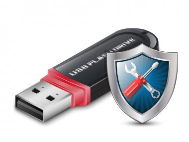 Data Recovery Icon - USB Flash Drive with Shield. Vector