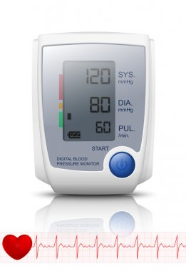 Digital Blood Pressure Monitor with reflection. Vector Illustrat