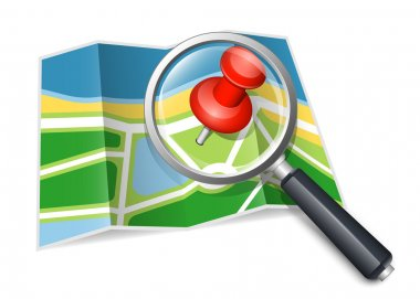 Paper map with magnifying glass. Vector illustration