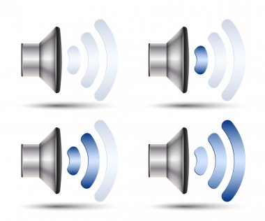 Set of speaker icons with different volume levels. Vector