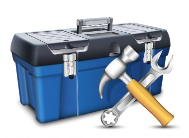 Tool box and tools. Vector illustration