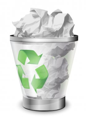 Recycle bin full of crumpled paper. Vector icon