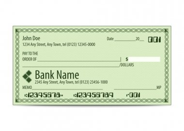 Vector illustration of blank bank check