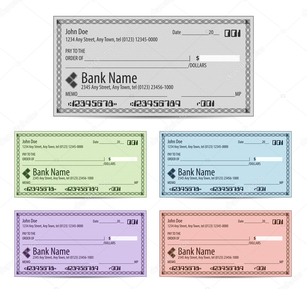 Vector illustration of blank bank checks in different colors