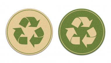 Two paper recycle stickers
