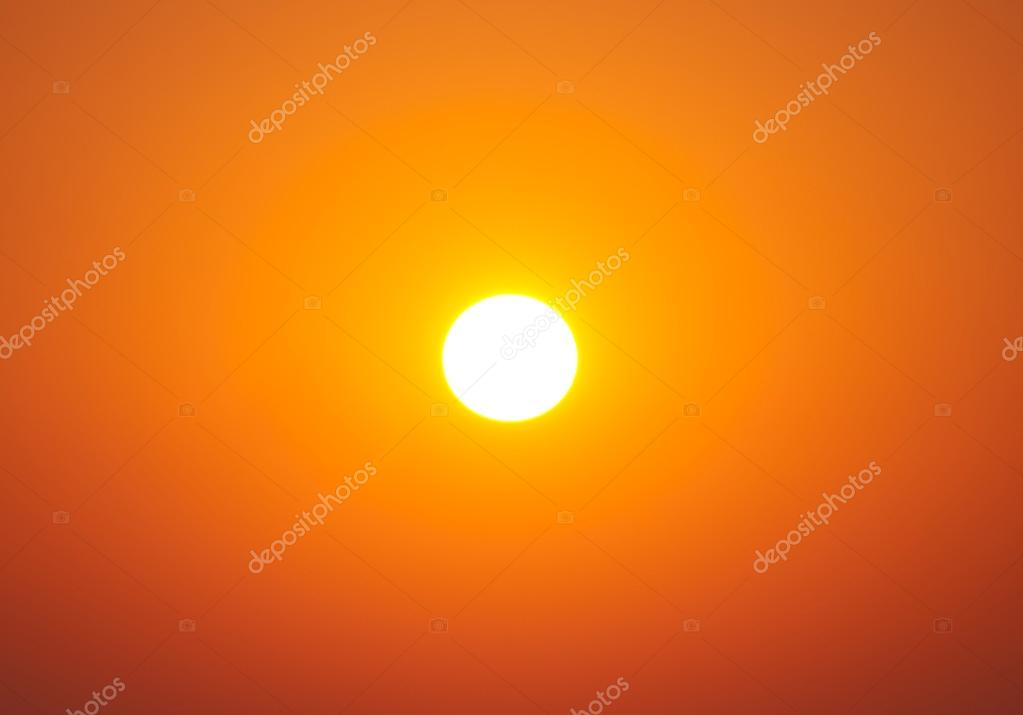 Bright big sun on sky with yellow orange gradient colors