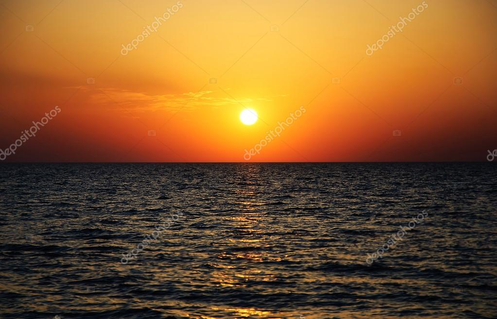 Bright sunset panorama under sea surface