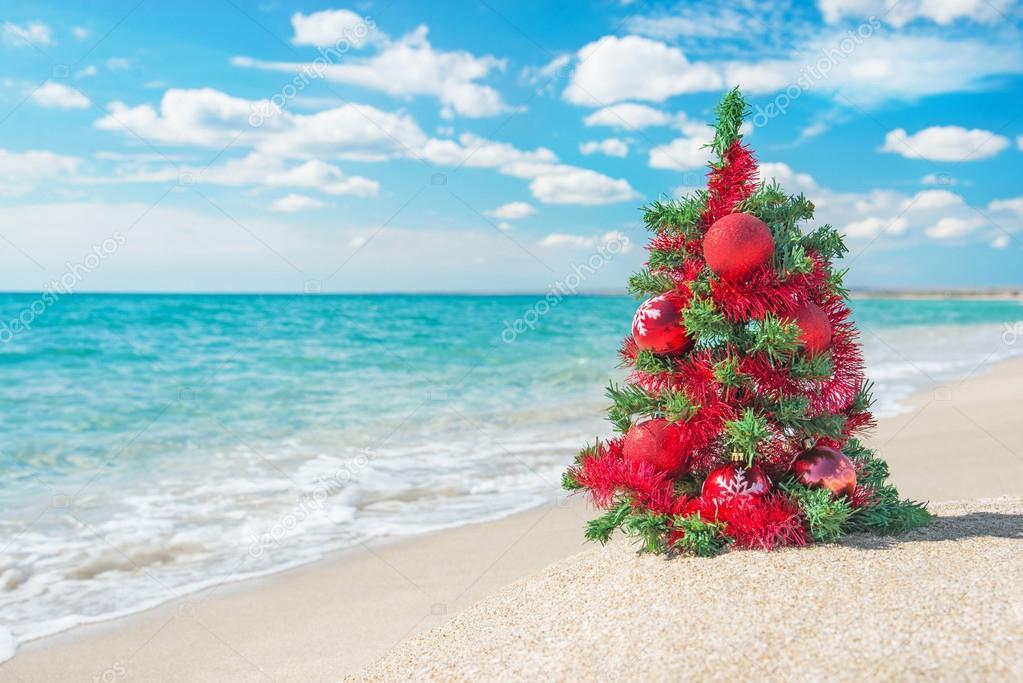 Immagini Natale Mare.Albero Di Natale Sulla Spiaggia Del Mare Concetto Di