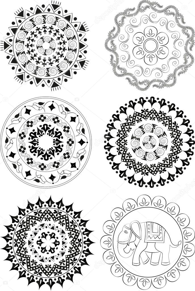 Set of ethnic patterns and mandalas