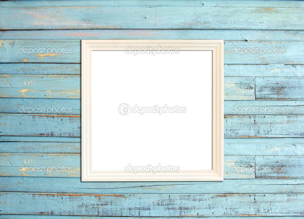 weiße Vintage Bilderrahmen auf blauem Holz Hintergrund — Stockfoto ...