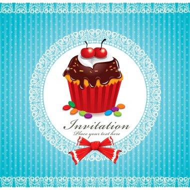 Vintage Cute cupcake invitation
