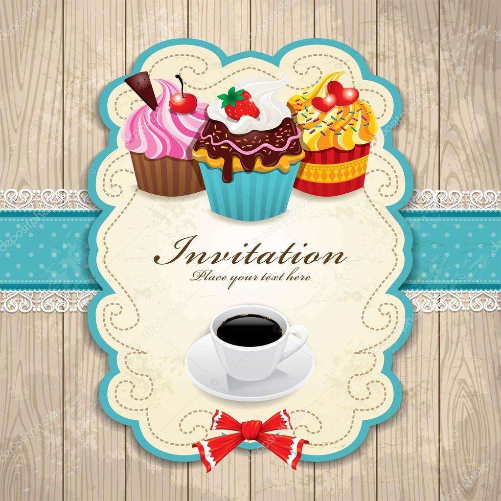 marco de la vendimia con la magdalena y café plantilla — Vector de ...