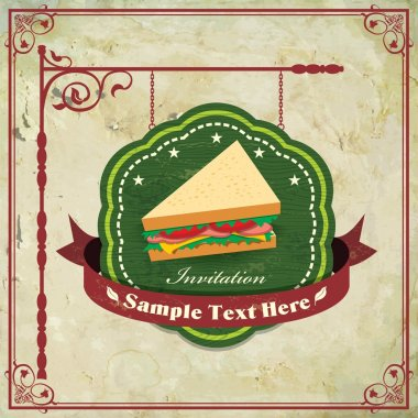 Vintage frame with sandwich template