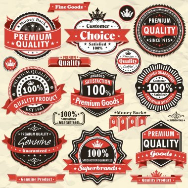Vintage Premium quality labels clip art vector