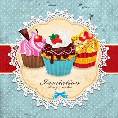 Vintage frame with cupcake invitation template design