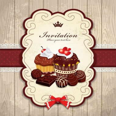 Vintage frame with chocolate cupcake template stock vector