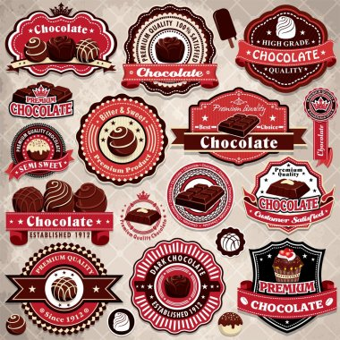 Vintage chocolate label set template