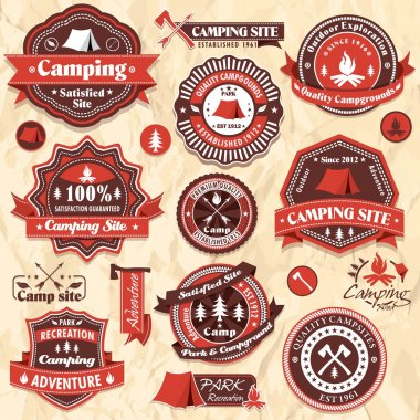 Vintage retro camping labels, icon collection sets