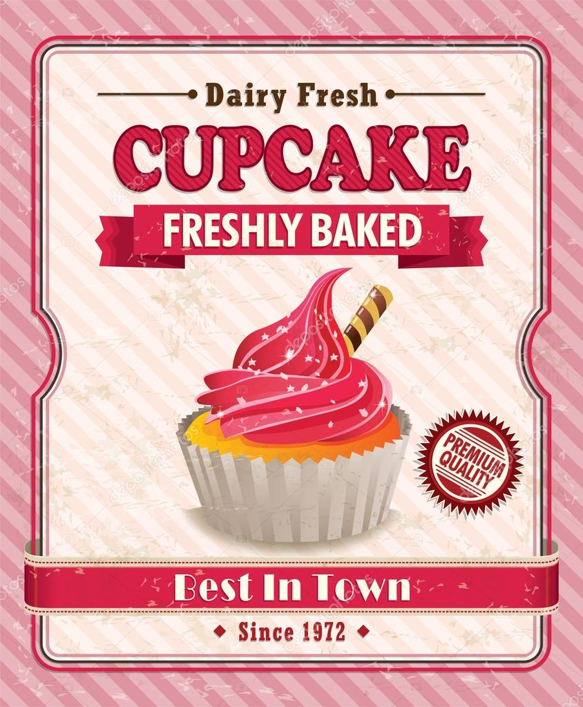 Design poster retro - Vintage Retro Cupcake Poster Design Stock Vector 27261837