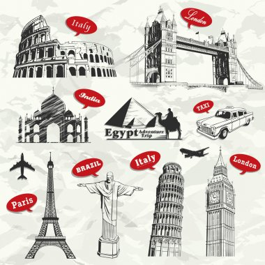 Vintage travel vacation labels with famous building