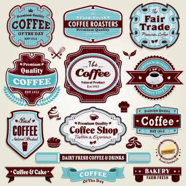 Vintage frame Coffee label set