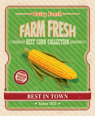 Vintage farm fresh organic corncob poster