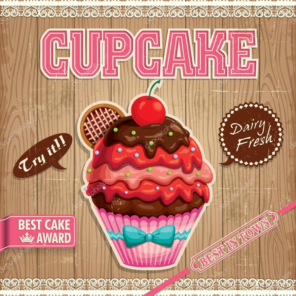 Vintage cupcake poster design with wood background