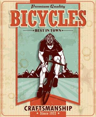 Vintage bicycles poster design clip art vector