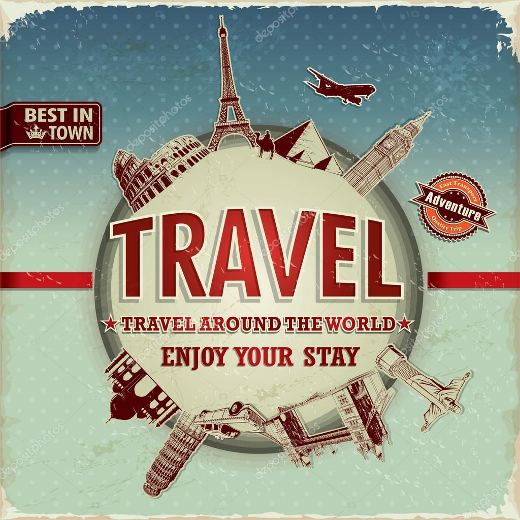 Vintage travel around the world poster