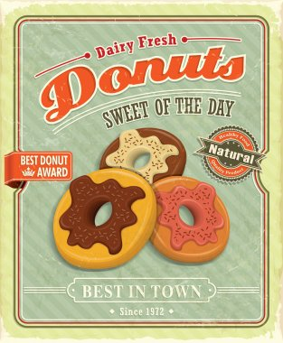 Vintage donuts poster with label