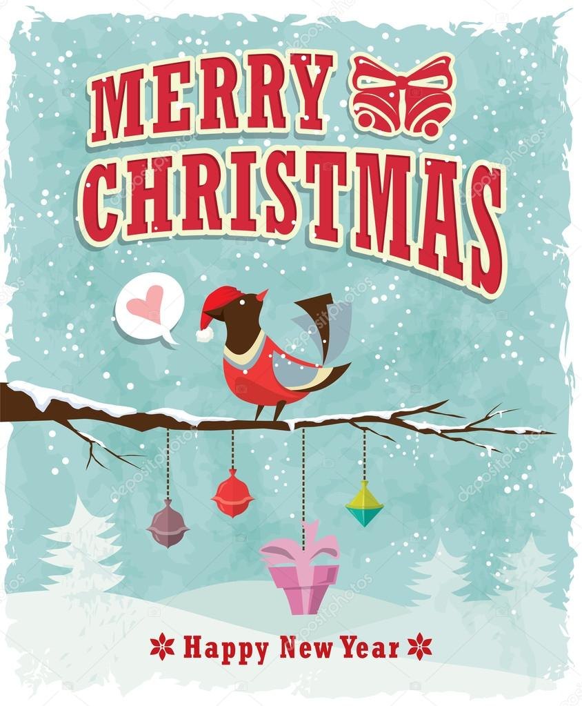 Xmas poster design - Vintage Christmas Poster Design With Bird Present Stock Vector 35775251