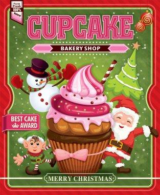 Vintage Christmas cupcake poster design with Santa Claus, elf & snowman