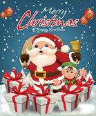 Fényképek Vintage karácsonyi plakát design Mikulás  elf