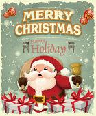 Fényképek Vintage karácsonyi plakát design Mikulás