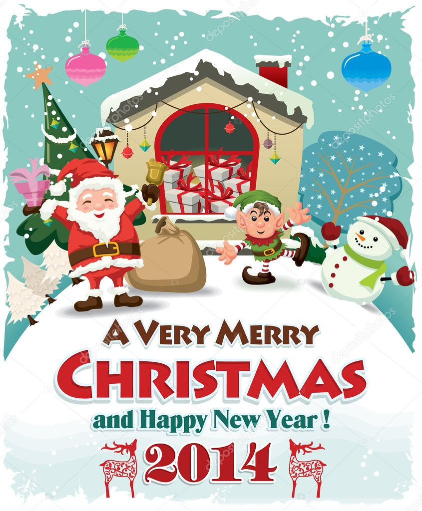 Xmas poster design - Vintage Christmas Poster Design With Santa Claus Stock Vector 37474637