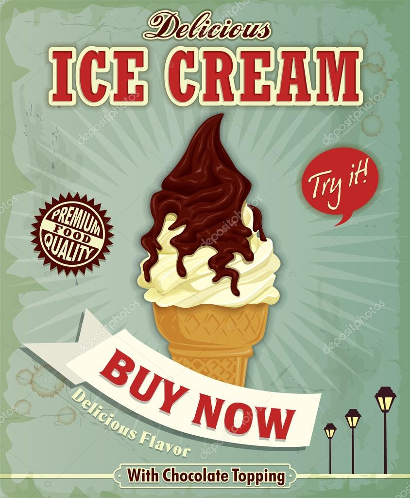Poster design vector download - Vintage Ice Cream Poster Design Stock Vector 38721379
